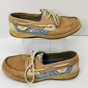 SPERRY Loafers Boat Shoes Leather Blue Sequin 7.5
